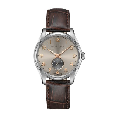 HAMILTON JAZZMASTER Thinline Η 38411580 Men's watch with leather brown strap gray