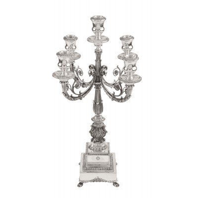 EMPIRE-STYLE 5-STEM CANDELABRA WITH SQUARE BASE  200631