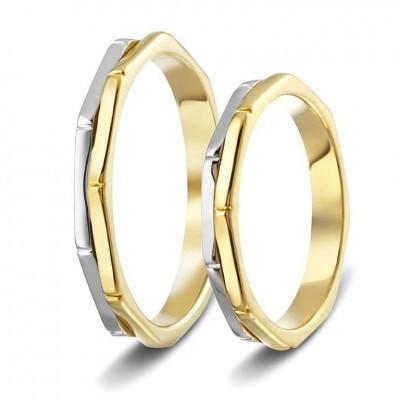 ΣΧ328 Wedding rings two coloured, yellow and white gold