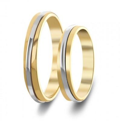 ΣΧ551 Wedding rings two coloured, yellow and white gold