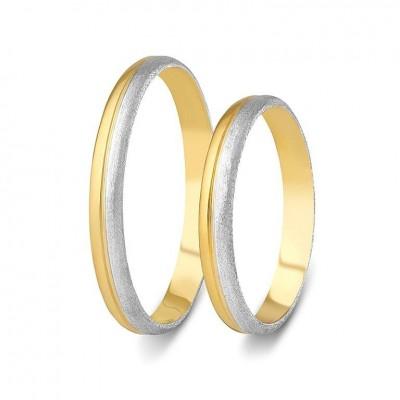 ΣΧ805 Wedding rings two coloured, yellow and white gold