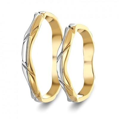 ΣΧ806 Wedding rings two coloured, yellow and white gold