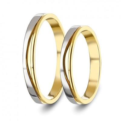 ΣΧ807 Wedding rings two coloured, yellow and white gold