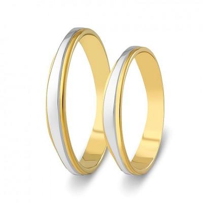 ΣΧ815 Wedding rings two coloured, yellow and white gold