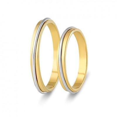 ΣΧ820 Wedding rings two coloured, yellow and white gold