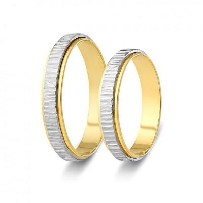 ΣΧ826 Wedding rings two coloured, yellow and white gold