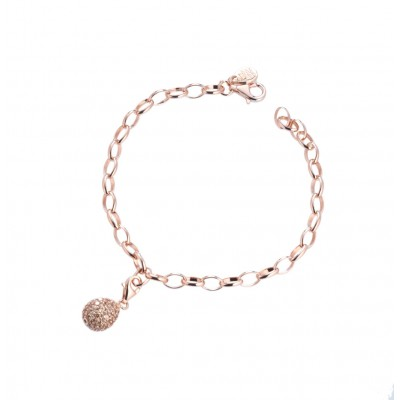 Tatiana Faberge 9Nine Bracelet 9B03R 18 k rose gold plated silver Bracelet with charm and natural ziricons