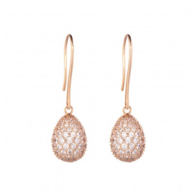 Tatiana Faberge 9Nine Earrings 9E01R 18 k rose gold platedSilver Earrings with natural zircons