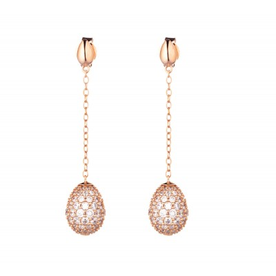 Tatiana Faberge 9Nine Earrings 9E02R18 k rose gold plated Silver Earrings with  natural ziricons