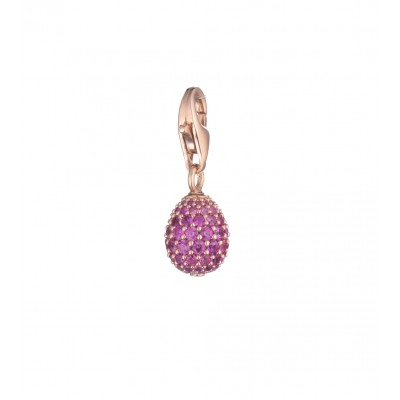 Tatiana Faberge 9Nine Charm 9P10R BΥ18 k rose gold plated Silver Charm with natural zircons