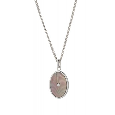 Tatiana Faberge Moika Pendant  MP P02W  Platinum plated silver  with 0.02 ct brilliand cut diamond and mother of pearl